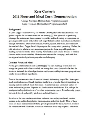 Heirloom Variety Trial Report 2011: Flour and Meal Corn Demonstration