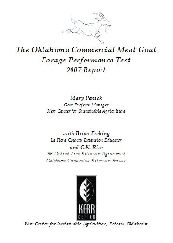2007 Commercial Meat Goat Forage Performance (Buck) Test Report