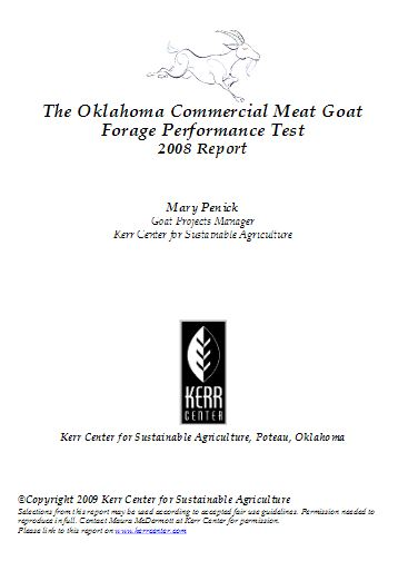 2008 Commercial Meat Goat Forage Performance (Buck) Test Report