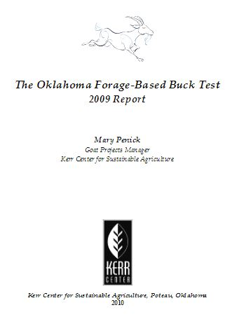 2009 Commercial Meat Goat Forage Performance (Buck) Test Report