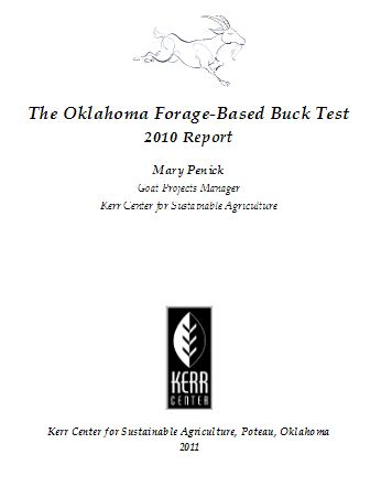 2010 Commercial Meat Goat Forage Performance (Buck) Test Report