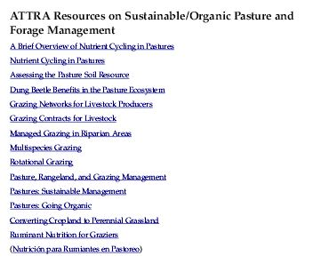 ATTRA Resources on Sustainable/Organic Pasture and Forage Management