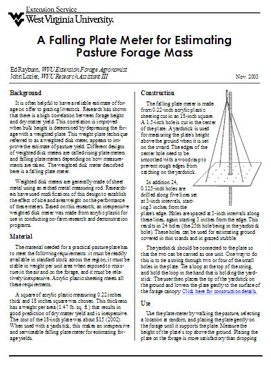A Falling Plate Meter for Estimating Pasture Forage Mass