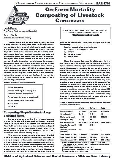 On-Farm Mortality Composting of Livestock Carcasses