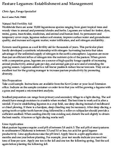 Pasture Legumes: Establishment & Management