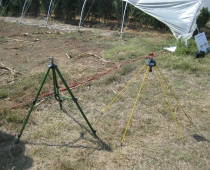Two different models of low-cost impact sprinkler used on the Cannon Horticulture Plots