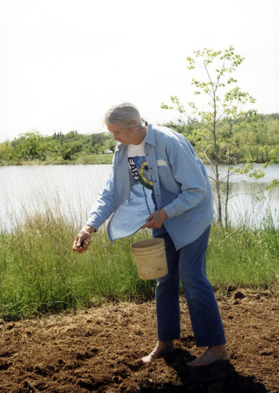 Kay Kerr Adair planting wildflower seeds