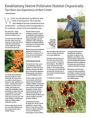 Establishing Native Pollinator Habitat Organically: Tips from Our Experience at Kerr Center