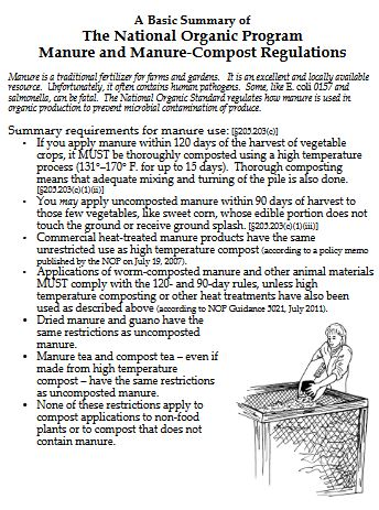 A Basic Summary of The National Organic Program Manure and Manure-Compost Regulations