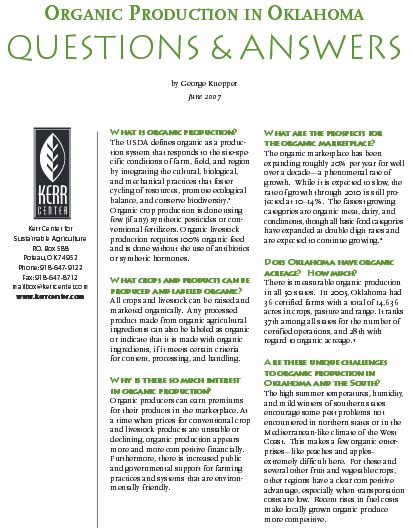 Organic Production in Oklahoma: Questions & Answers