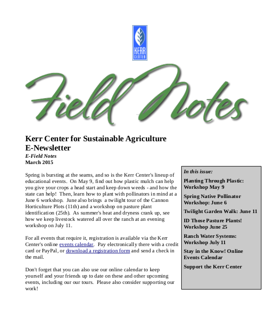 Field Notes – March 2015