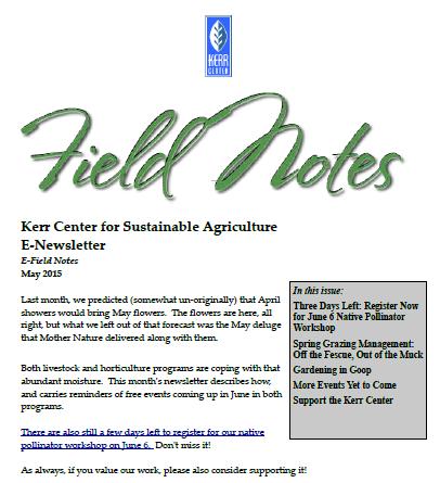 Field Notes – May 2015