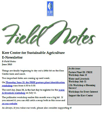 Field Notes – June 2015