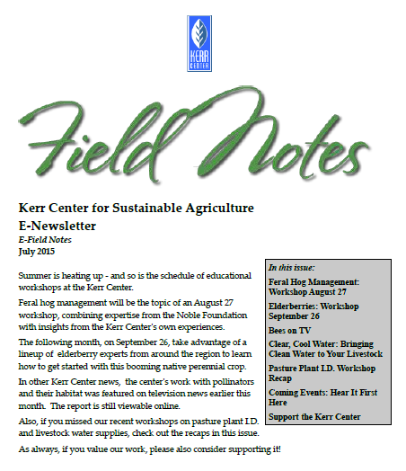 Field Notes – July 2015