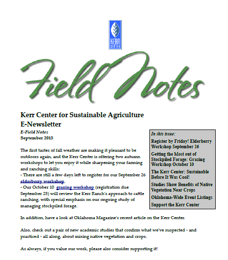 Field Notes – September 2015
