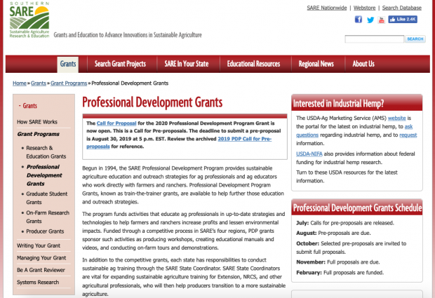 Deadline: Southern SARE Professional Development Program 2020 Grant Applications