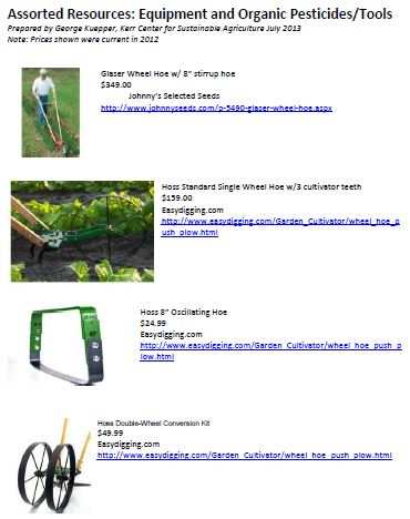 Assorted Resources: Equipment and Organic Pesticides/Tools