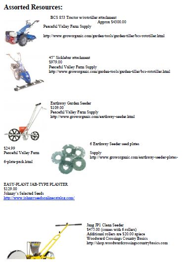 Supply Equipment List