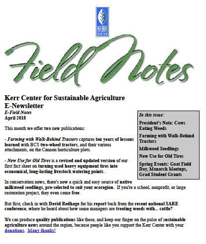 Field Notes – April 2018