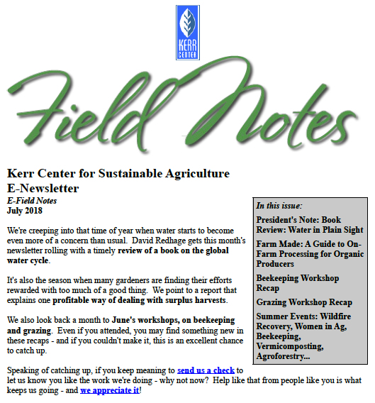 Field Notes – July 2018