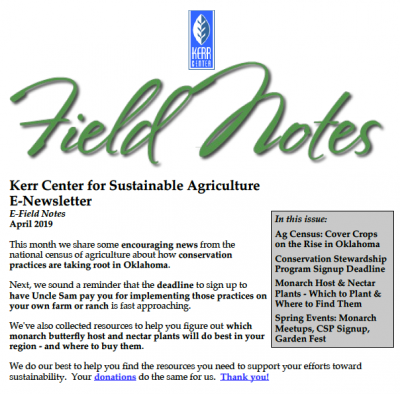 Field Notes April 2019