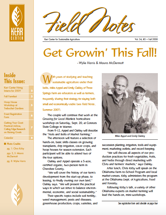 Field Notes – Fall 2008