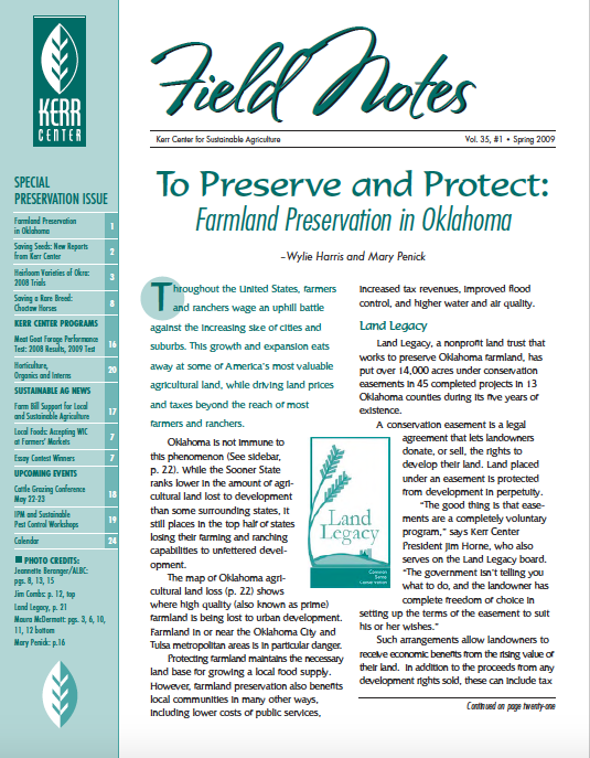 Field Notes – Spring 2009