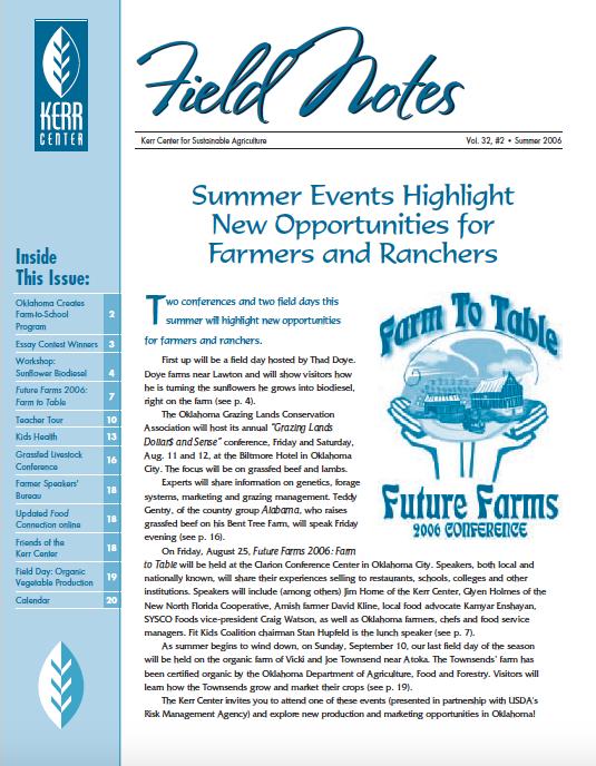 Field Notes – Summer 2006