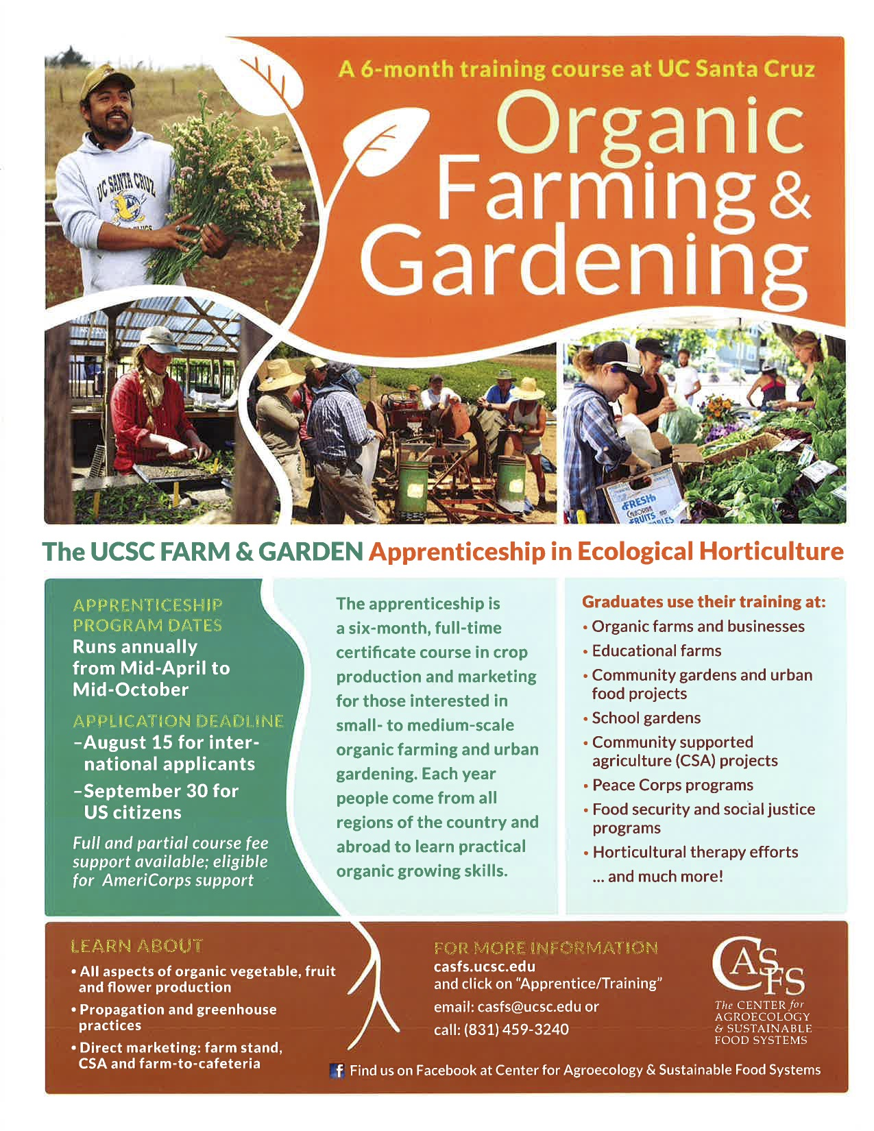 Informational flyer for the ecological horticulture apprenticeship at UC Santa Cruz