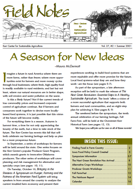 Field Notes – Fall 2001