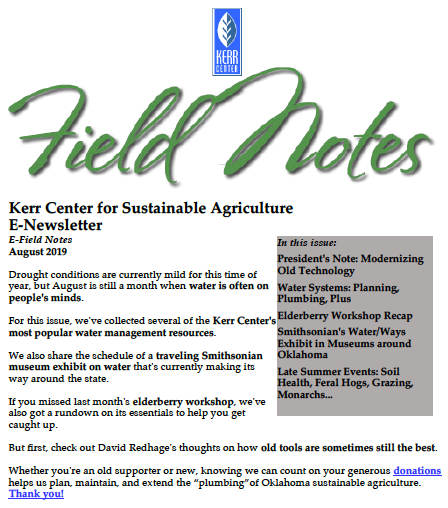 Field Notes – August 2019