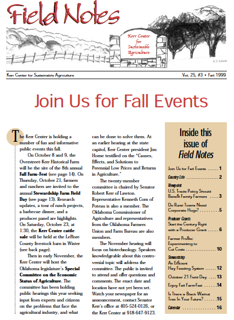Field Notes – Fall 1999