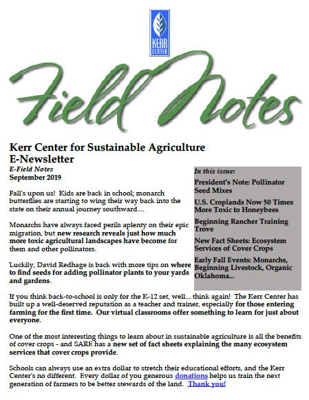 Field Notes – September 2019