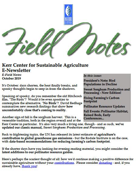 Field Notes – October 2019