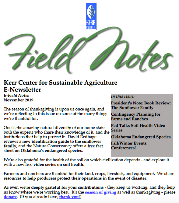 Field Notes – November 2019