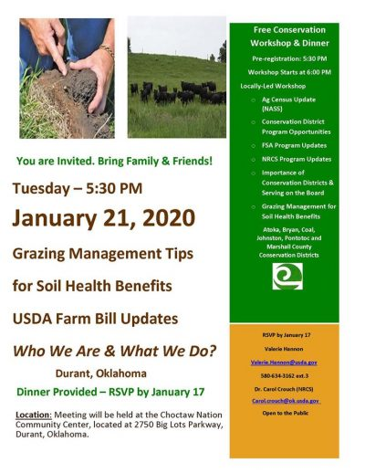 Grazing Management Tips for Soil Health Benefits @ Durant (Choctaw Nation Community Center)