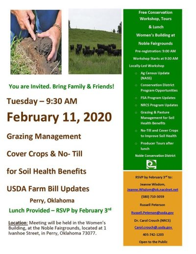 Grazing Management, Cover Crops, and No-Till for Soil Health Benefits @ Perry (Noble Fairgrounds, Women's Building)