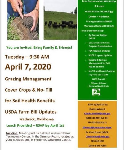 POSTPONED: Grazing Management, Soil Health, & USDA Updates @ Frederick (Great Plains Technology Center)