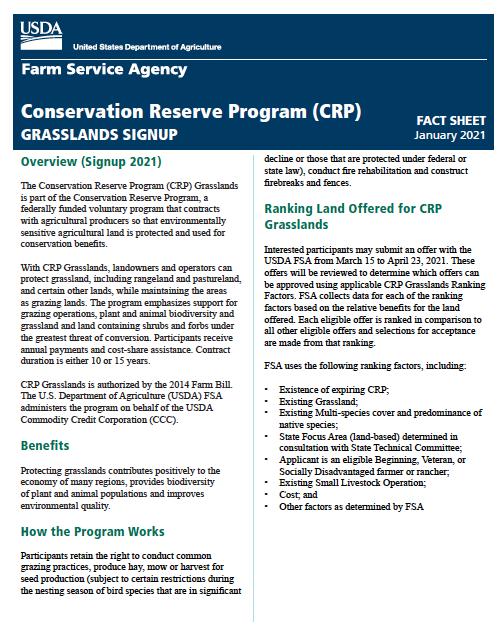 crp grasslands signup deadline