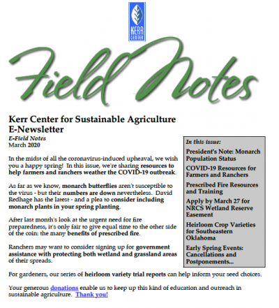 Field Notes March 2020