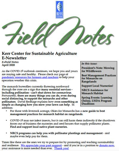Field Notes April 2020