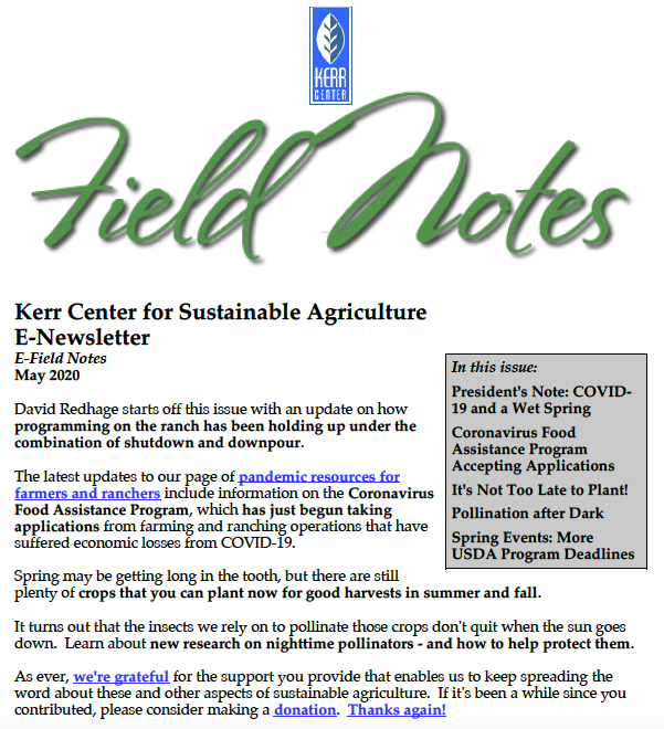Field Notes – May 2020