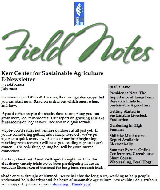 Field Notes – July 2020