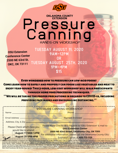 Pressure Canning Workshop @ Oklahoma City (OSU Extension Conference Center)