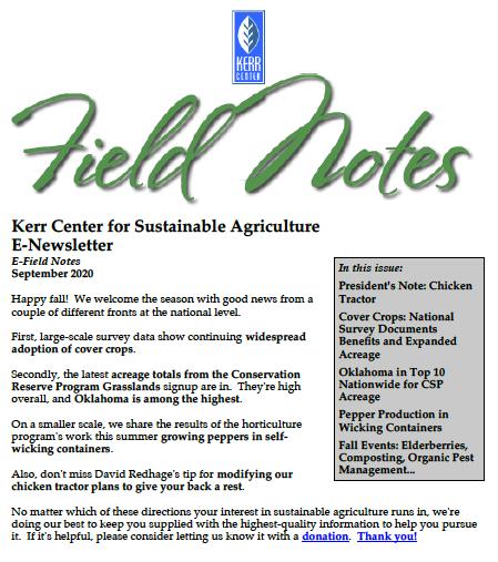 Field Notes – September 2020