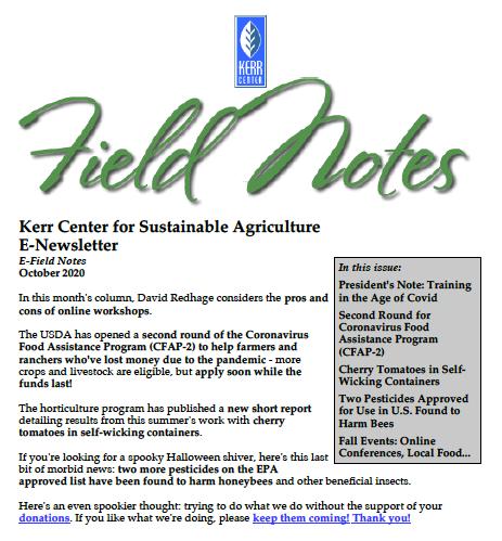 Field Notes – October 2020