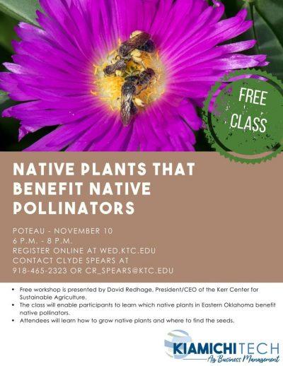 Workshop: Native Plants that Benefit Native Pollinators @ Poteau (Kiamichi Technology Center)