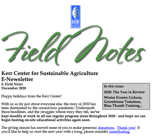 Field Notes – December 2020