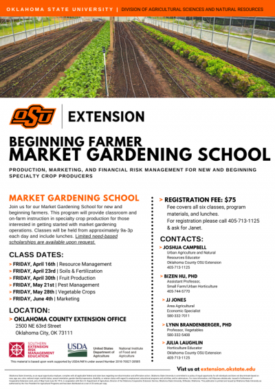 Beginning Farmer Market Gardening School @ Oklahoma City (Oklahoma County Extension Office)