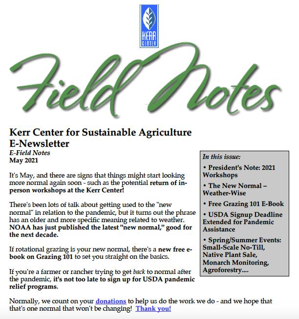 Field Notes – May 2021